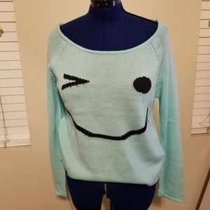 Charolette Russe Green Happy Face Sweater Top